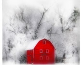 Country winter, 8x8, Art, photography, nature, winter photography, Michigan, Original, winter photograph, farm house chic, barn, red decor