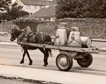 Irish Photograph, Old Ireland, St. Patricks Day, Art Print, Landscape Photo, Sepia Style, Milk Wagon, Horse Cart, Wall Decor, Apartment