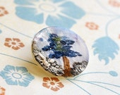 Blue Tree Hand Painted Antique Pearl Small Studio Button   L245