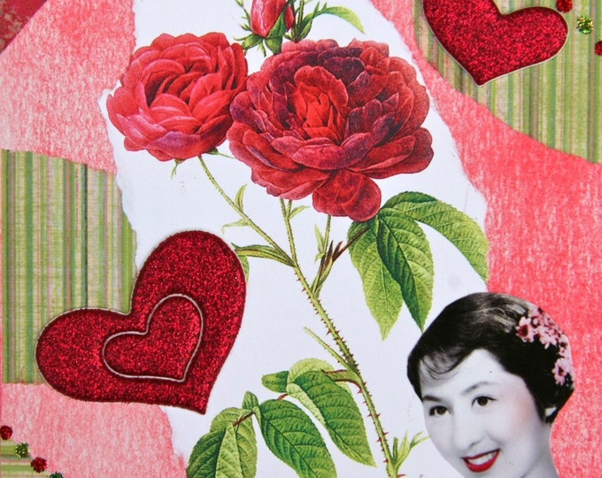 Handmade Collage Greeting Card, Size 5x7, Mixed Media, I LOVE YOU, Blank Inside