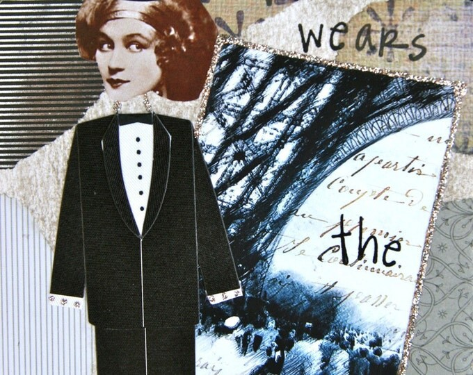 Handmade Altered Art Card, Size 5x7, She Who Wears the Pants, Blank Inside