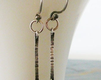 Sterling Silver Earrings, Lucky Nugget Sterling Drop Earrings, Oxidized, Antiqued, Dangle