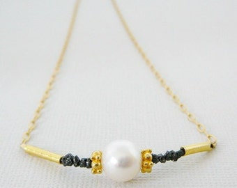 Black Diamond Necklace, Freshwater Pearl, 17 inch, 14kt Gold Filled, layering Jewelry