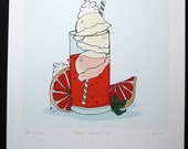 Blood Orange Float- Signed Archival Print of Original Illustration