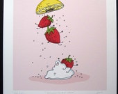 Sweet Strawberries- Signed Archival Print of Original Illustration