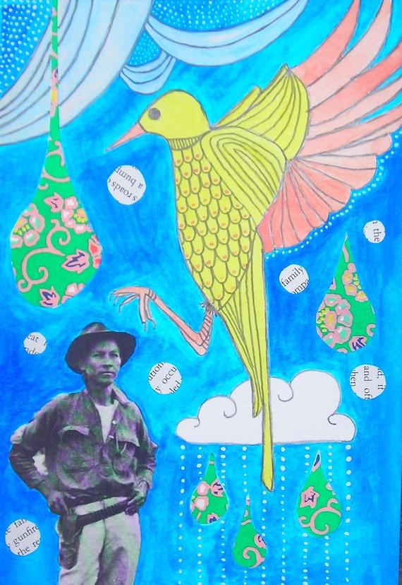 Yellow Bird - Original drawing/mixed media