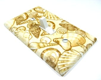 Cream Seashell Decoration Light Switch Plate Cover Sea Shell Bathroom Coastal Living Home Decor