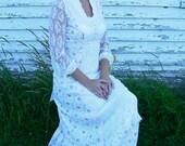 Romantic Vintage Wedding Dress - Satin, Lace & Country Cotton - Medium