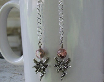Dangling Fairy Earrings with Coppery-Pink Beads