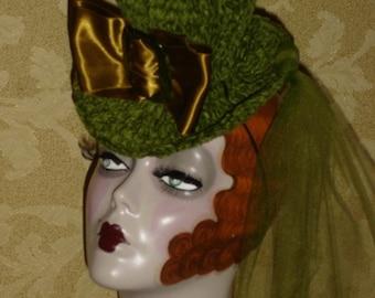 Crochet Flapper Mini Top Hat Emerald Chenille