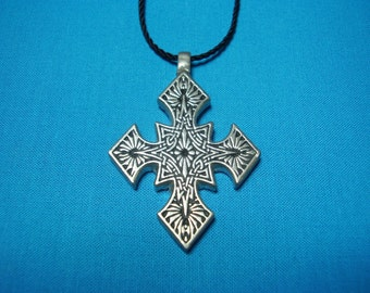 Small Gothic Influenced Knotwork Silver Pewter Cross, Necklace Pendant STK077