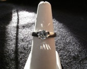 White Zircon Sterling Silver Tulip Ring
