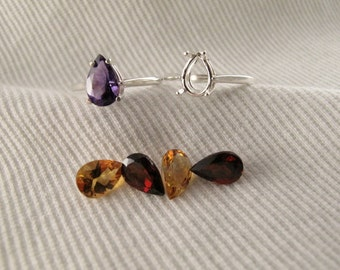 Pick-A-Pear Gemstone Sterling Silver Ring