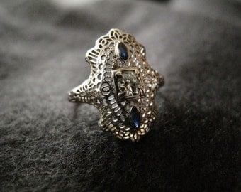 White Gold Art Deco Diamond Ring