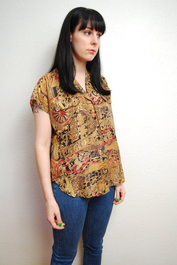 vintage 1980s / abstract print / silk / blouse / over size / neutral / short sleeves