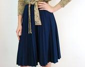 Accordion Pleated Skirt - Navy Blue Pleated Skirt