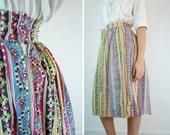 1950s Skirt / Cotton 50s Skirt / Spring Floral