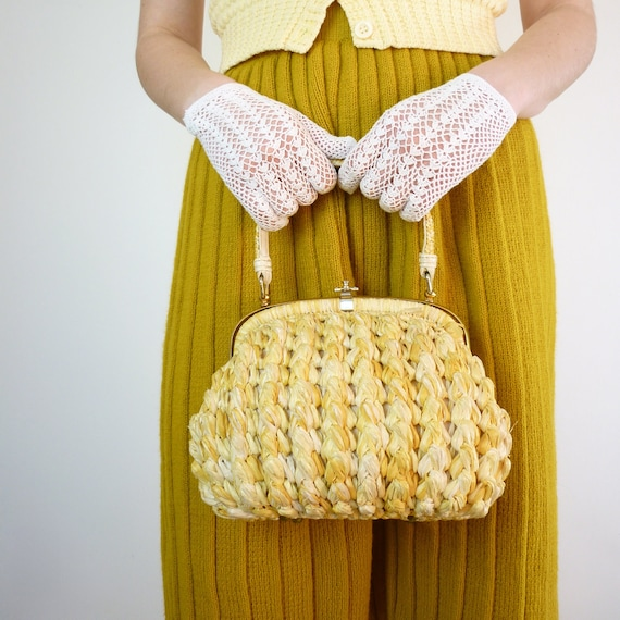 1950s Handbag - 50s Purse - Basket Purse