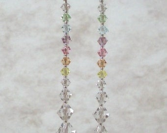 "Dangling Rainbow in Swarovski crystals, crystal bicone beaded earrings rainbow colors, 1 7/8""long beaded dangle and drop earrings jewelry"