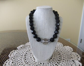 Black Beaded Necklace with Vintage Glass Bead in the Center