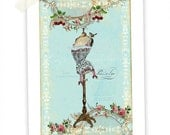 Mannequin print, French mannequin, vintage style, home decor, cherries, roses, French corset, dress form, blue, giclee, A4 print