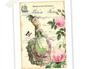 Marie Antoinette, print, pink roses, French receipt, yellow, pink, green, vintage style, home decor, illustration, butterfly, A4