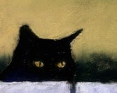 Black Cat Print - Cat Art Painting - Alisa Wilcher - 12 x 8