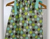 Girls Boutique Pillowcase Dress Splendid Dot with Robins Egg Blue Grosgrain  Ribbon Ties