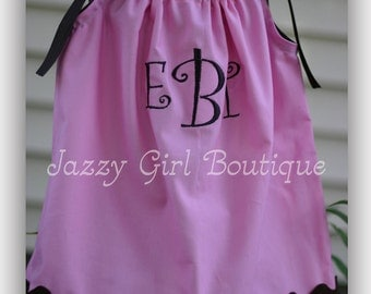 Girls Monogrammed Pillowcase Dress Pink with Brown Ric Rac accent Sizes 6mo - 5T.  Sizes 6-8 Three Dollars More