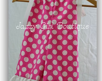 Girls Pillowcase Dress Gaucho Pants Overalls Pink with White Polka dots.  Sizes 6mo - 5T.