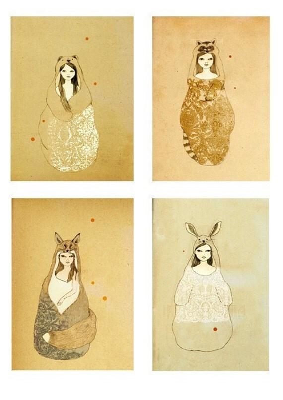 Woodland Art Set - Animal Girls set of 4 large prints 11x16