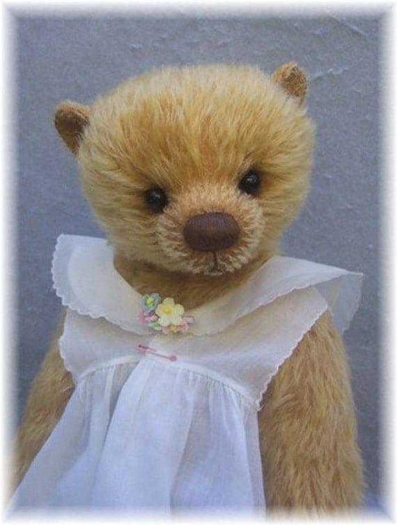 """Artist Bear Mohair Teddy Bear PDF Pattern for 16"""" Little Girl  By Kim Endlich Digital File Immediate Download"""