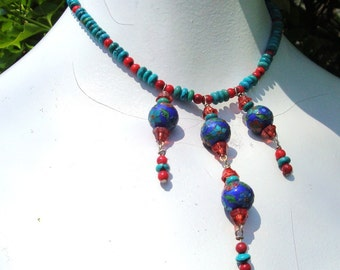 Turquoise and Coral Necklace, Cloisonne Beaded Dangles, Vintage Beads..Red Turquoise Cobalt Design, OOAK, Rachelle Starr