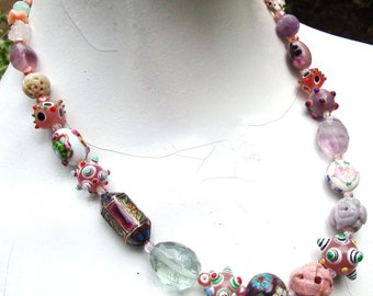 Pink Bead Collection Necklace..Each Bead is SPECIAL..Stones, Hand Blown Glass, Pearls, Lampwork,