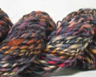Handspun Wool Yarn - Aran Weight - 70 yards of Blue and Fruit