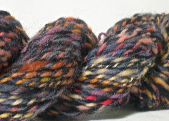 Handspun Wool Yarn - Aran Weight - 82 yards of Blue and Fruit