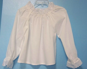 Girl's white Peasant Style Blouse or Dress With Long or 3/4 Sleeves and Eyelet Trim