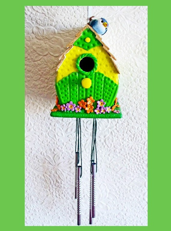 Wind Chime Yellow Lime Birdhouse