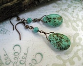 Robin's Egg Blue Semi-precious Stone and Copper Earrings