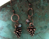 Pinecone and Pearl Earrings