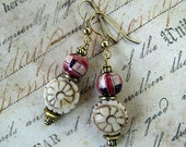 Dangle Earrings Carved Flower Beads and Hand Painted Wood Beads