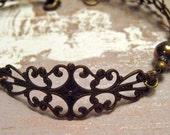 Victoria - Antiqued Brass Filigree Bracelet
