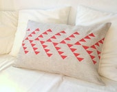 Linen pillow cover with tribal pattern geometric design