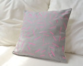 Linen pillow cover in silver gray and neon pink sticks