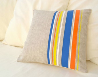 Natural beige linen with multicolor design pillow cover