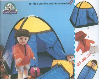 Simplicity 5679 American Girl 18 Inch Doll Sewing Pattern Camping Tent Jacket Shorts Sleeping bag backpack Too cute  OOP