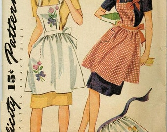 1940s Simplicity 1162 Apron Sewing Pattern Vintage Size Small Transfer Included Full or Half