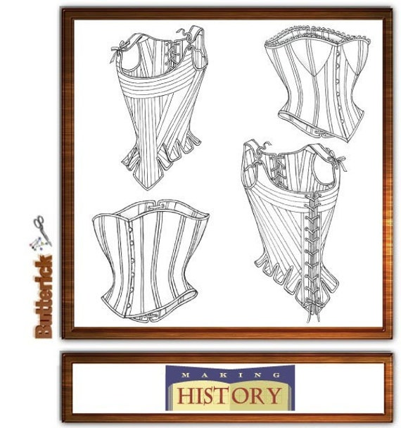 Corset Stays Bustier Sewing Pattern Civil War Medieval Butterick 4254 Sizes 18-20-22
