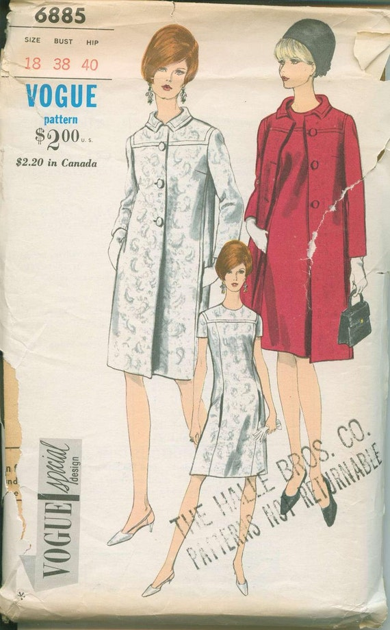 1960s Vogue 6885 Opera Coat and Dress Sewing Pattern Vintage Size Small 18 Mod Stlye
