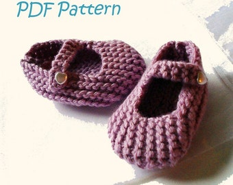 Knitting Pattern for Mary Jane Baby Shoes 3-6 months - PDF